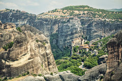 Panoramic view of Meteora monasteries on the rocks. Stock Photography