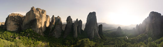 Pinnacles of rocks in Meteora landscape panorama at sunset, Gree Royalty Free Stock Photo