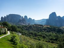 Panoramic view of Meteora rocks on a clear summer day stock photography