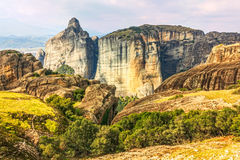 Panoramic view on Meteora in Trikala Stock Photos