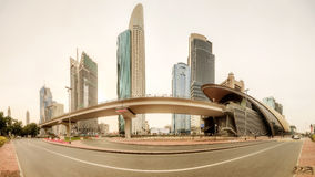 Panoramic view of metro station in Financial district, Dubai, UAE royalty free stock photo