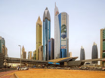 Panoramic view of metro station and road in Financial district, Dubai, UAE royalty free stock photo