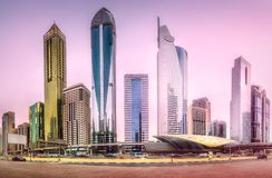 Metro station in Financial district Dubai, UAE. Panoramic view of metro station and road in Financial district during overcast day, Dubai, UAE Stock Image