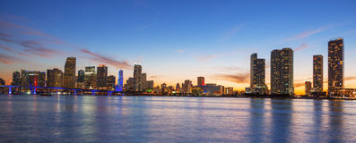 Panoramic view of Miami at sunset Stock Photos