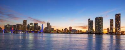 Panoramic view of Miami at sunset Stock Photos