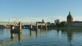 Panoramic View of the Midi Channel in Toulouse stock video footage