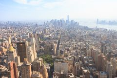 Panoramic view of Midtown and Lower Manhattan as seen from the E. Manhattan, New York, USA -  May 27, 2015: Panoramic view of Lower Manhattan as seen from the Royalty Free Stock Images