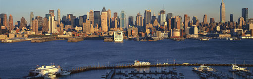 Panoramic view of Midtown Manhattan, NY skyline with Hudson River and harbor, shot from Weehawken, NJ Royalty Free Stock Images