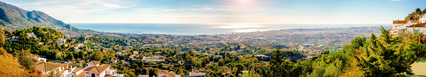 Panoramic view from the Mijas village to Fuengirola town Royalty Free Stock Image