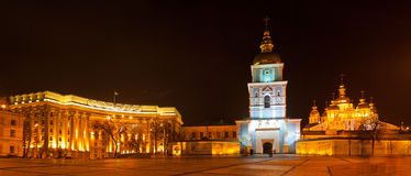 Panoramic view of Mikhaylivs'ka square in Kyiv Royalty Free Stock Photos
