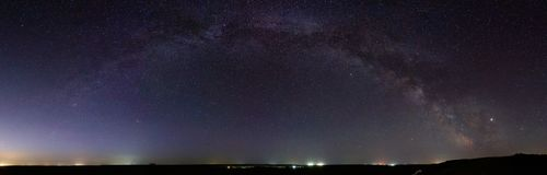 Panoramic view of the Milky Way. Bright stars of the night sky. Astrophotography with a long exposure.  royalty free stock photography