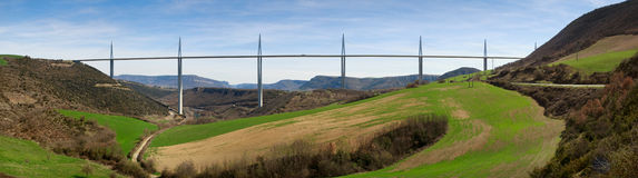 Panoramic view of Millau bridge Stock Images