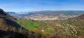 Panoramic view of Millau bridge and town Royalty Free Stock Photo