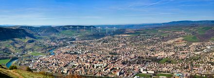 Panoramic view of Millau bridge and town Stock Photo