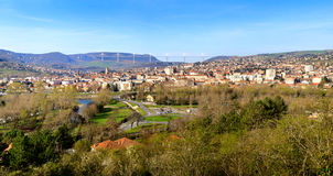 Panoramic view of Millau bridge and town Stock Photography