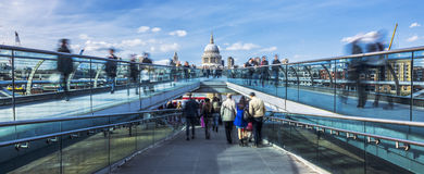Panoramic view of the Millenium footbridge Stock Image