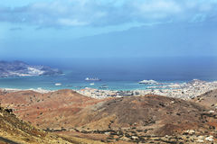 Panoramic view of Mindelo City, Cape Verde Royalty Free Stock Photo