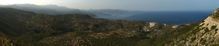 Panoramic view of Mirabello bay. Panoramic view of Mirabello gulf. Eastern Crete, Greece Royalty Free Stock Images