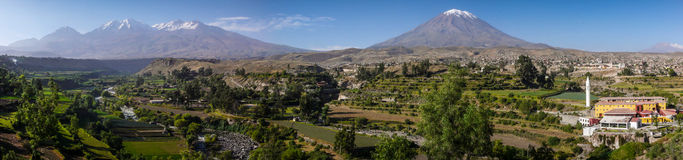 Panoramic view from the Mirador de Yanahuara, Arequipa, Peru. Arequipa is the capital and largest city of the Arequipa Region and the seat of the Constitutional royalty free stock photos