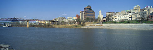 Panoramic view of Mississippi River with Bridge and Pyramid Sports Arena, Memphis, TN Royalty Free Stock Image