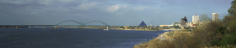 Panoramic view of Mississippi River with Bridge and Pyramid Sports Arena, Memphis, TN Royalty Free Stock Photography