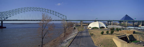 Panoramic view of Mississippi River with Bridge and The Pyramid Sports Arena in skyline, Memphis, TN Stock Images