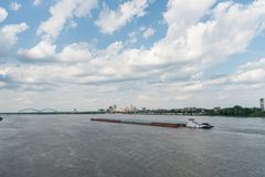 Panoramic view of the Mississippi river and Memphis downtown in springtime royalty free stock photography