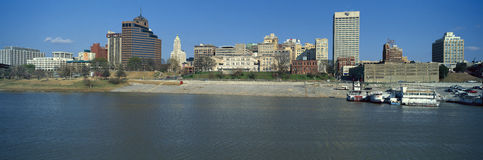 Panoramic view of Mississippi River with Memphis, TN skyline Royalty Free Stock Photo