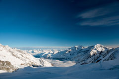 Panoramic view from Mittelallalin. Saas Fee, Valais, Switzerland stock images