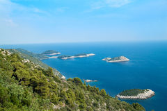 Panoramic view from Mljet on Prec island Stock Photos