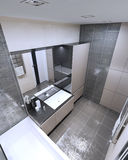 Panoramic view of modern bathroom Stock Images