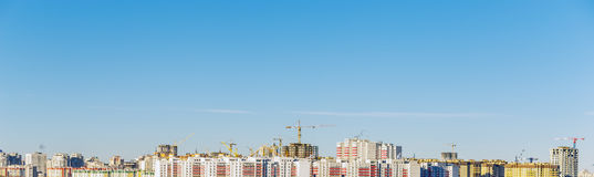 Panoramic view of the modern city, houses, high-rise buildings Royalty Free Stock Images