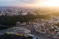 Panoramic view of a modern city at sunset. Postal square, Podol district, city center of Kiev, Ukraine. Aerial view Stock Images