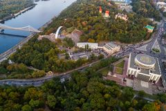 Panoramic view of the city center of Kiev. Aerial view of Arch of Friendship of Peoples, Khreshchaty Park, the main. Panoramic view of a modern city at sunset Stock Image