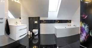Panoramic view of modern design comfortable bathroom Royalty Free Stock Photo