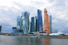 Panoramic view of the modern glass architectural complex Moscow city cloudy spring day Moscow Russia. Panoramic view of the beautiful modern glass architectural stock images