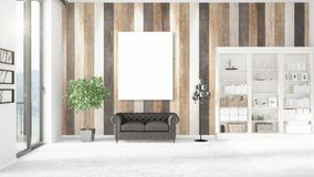 Panoramic view in modern loft interior with vertical empty frame and copyspace in horizontal arrangement. 3D rendering. Stock Photography