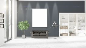 Panoramic view in modern loft interior with vertical empty frame. Fashionable modern loft interior in vogue with vertical empty frame and copyspace in Royalty Free Stock Image