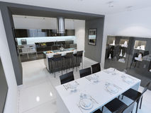 Panoramic view of modern and minimalist kitchen Stock Images