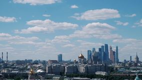 Panoramic view of modern part of Moscow, capital of Russia. Sunny day. Panoramic view of modern part of Moscow, capital of Russia stock footage