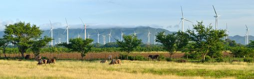 Panoramic view of the modern Windmills on a background of mounta Stock Photos