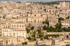 Panoramic view of Modica, with the cathedral of San Giorgio Stock Photo