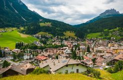 Panoramic view of Moena, the fairy of the dolomites in Trentino Alto- Adige, Italy royalty free stock photos