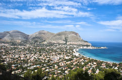 Panoramic view of the mondello's gulf. Palermo- Sicily stock image
