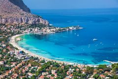 Panoramic view of Mondello white beach in Palermo, Sicily. Panoramic view on Mondello white sand beach in Palermo, Sicily. Italy royalty free stock photography