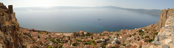Panoramic view of Monemvasia Royalty Free Stock Photography