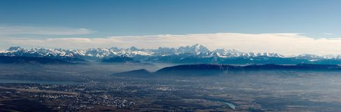 Panoramic view on Mont-Blanc Royalty Free Stock Photo