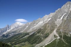 Panoramic view of Mont Blanc stock photos