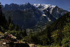 Panoramic view of the Mont Blanc. France. A panoramic view of the Mont Blanc taken from Planpraz The top of the Mont Blanc (4807 m) is the highest point in stock photo