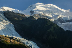 Panoramic view of Mont Blanc Massif. Bossons Glacier in the Fren Stock Photo